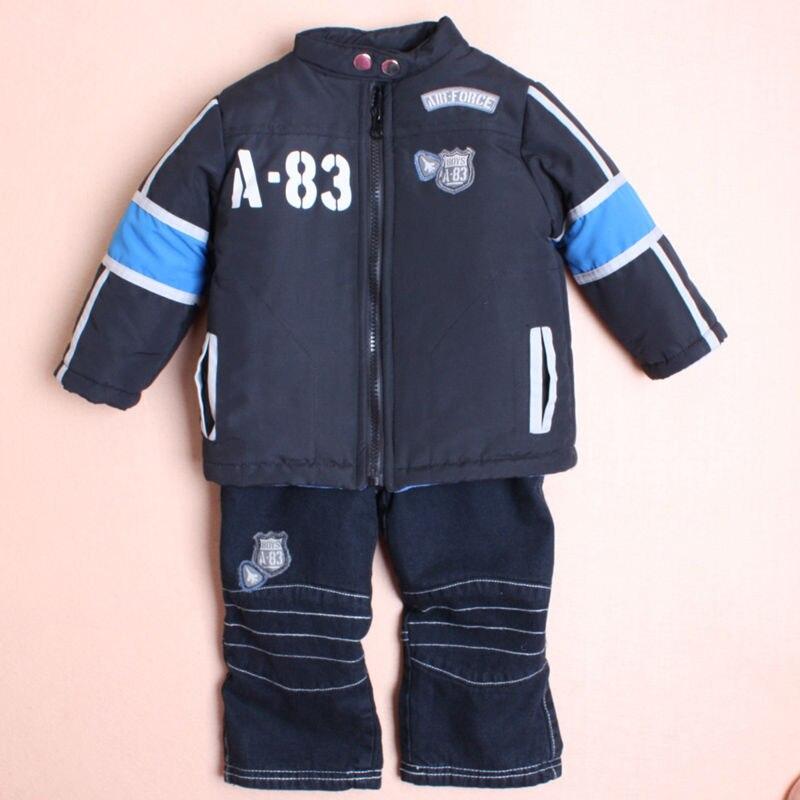 Perakende 6-24 M çocuk giyim setleri kış bebek boys suit set 3 adet bebek fermuar parkas Uzun kollu gömlek Kot bebek giysileri