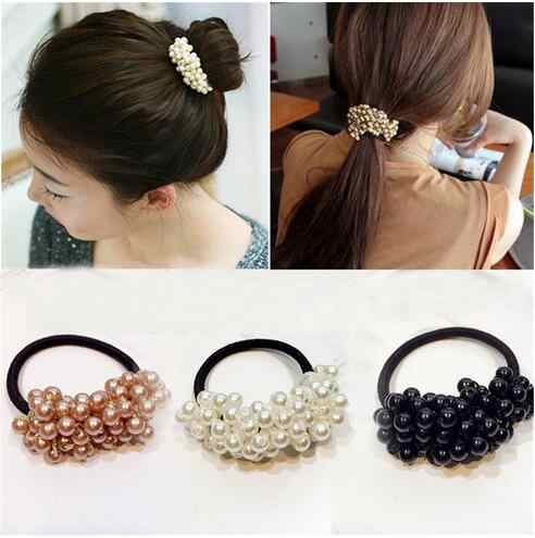 Fashion Vintage Pearl Beads Hair Rope Elastic Hair Rubber Bands For Women Girls Temperament Headdress Hair Accessories