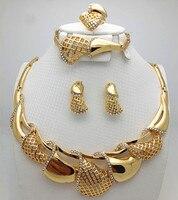Gratis Verzending Afrikaanse goud-kleur Luxe Sieraden Sets Bridal Nigeriaanse Vrouw Bruiloft Afrikaanse Kralen Grote Sieraden Groothandelaar