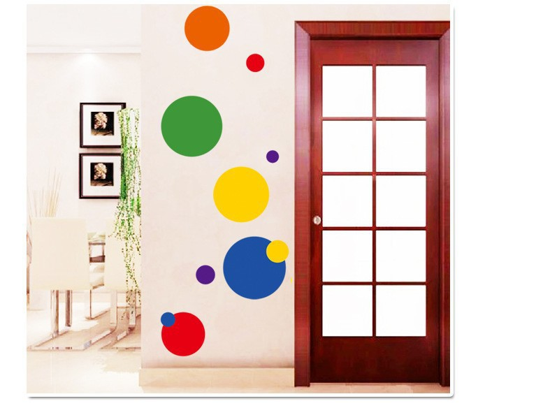 Modern Gymnastics Colorful Dots Wall Stickers Adhesive Pattern Vinilos Kitchen Wallpaper Art Decals Stencil Home Room DIY Decor In From