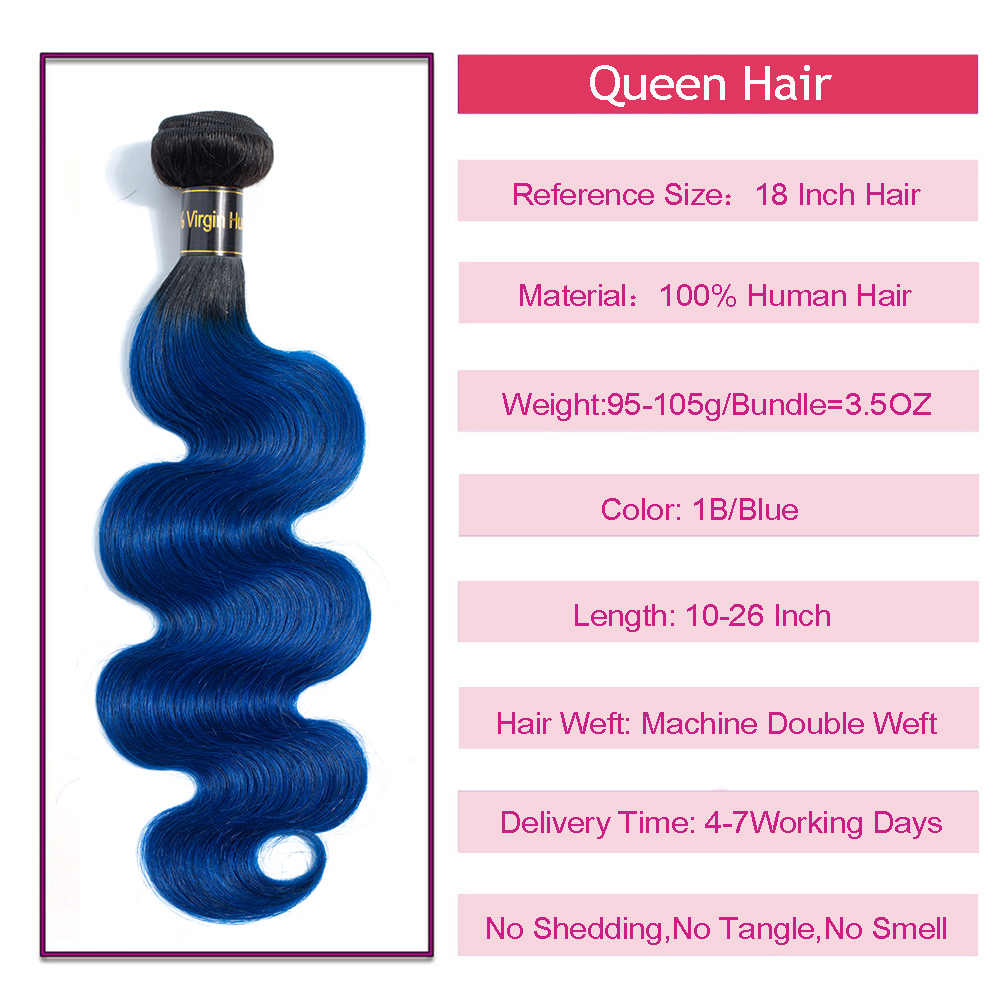 Queen Hair Products Peruvian Body Wave 1/3/4 Hair Bundles 1B/Blue Dark Roots Two Tone Ombre 100% Human Hair Weave Extensions
