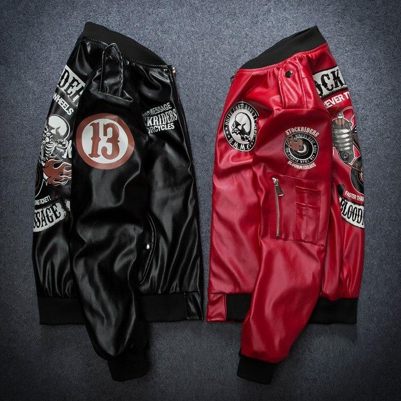 Trend PU Mens Jackets and Coat Designer Bomber For Men Punk Rock DJ Singer Plus Size Streetwear Windbreaker Faux Leather Clothes