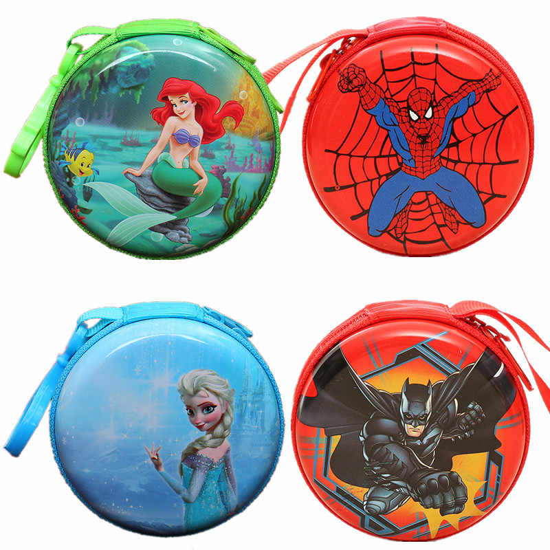 Cartoon Superman Key Holder Mermaid Princess Elsa Snow White Tinplate Coin Purse Batman Spider-man Kids Mini Pouch Earphone Bag