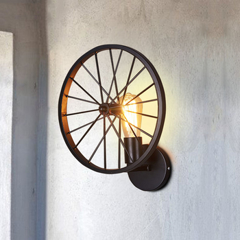 Creatieve Industrieel Fietswiel wandlamp 5