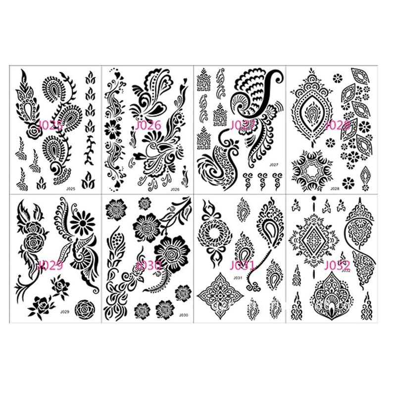 Temporary Black Henna Tattoo: 1 Sheet Lace Flower Pattern Black Henna Tattoo Temporary