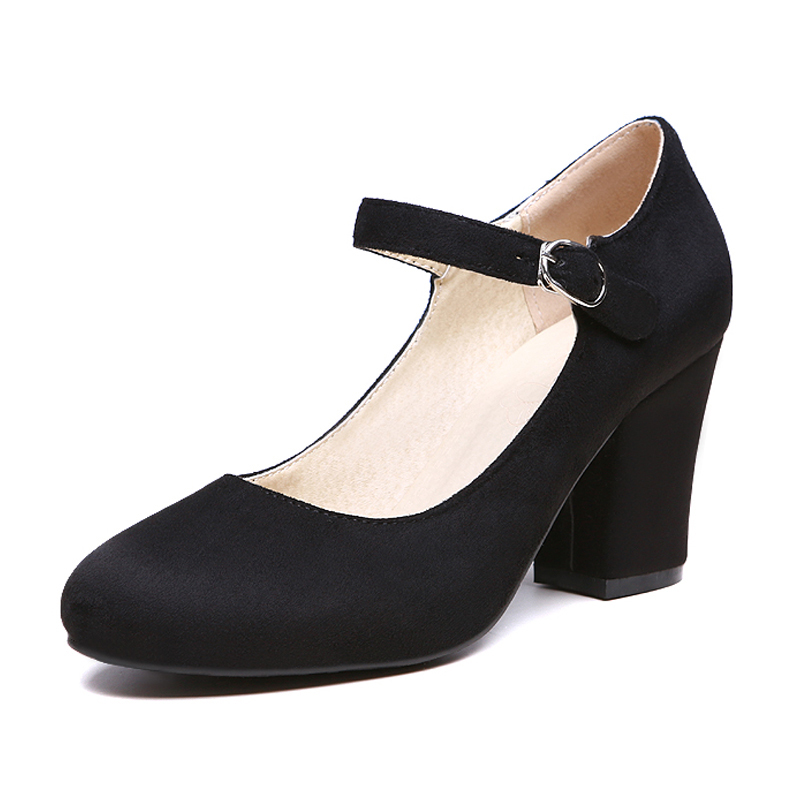Sweet Buckle Strap Shoes Woman Top Selling Mary Janes Women Pumps Fashion Summer Shoes Flock Thick