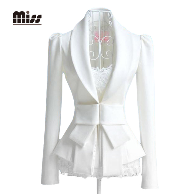 a87c54ee863 MISS Women White Blazers Jacket Tuxedo Business Femme Ladies Big Bow Slim  Formal Office Suits Work Blazer Thin With Branco S1P2