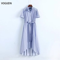 VOGUEIN New Womens Casual Little Plaids Print Short Sleeve Bow Blue Midi Dress Wholesale