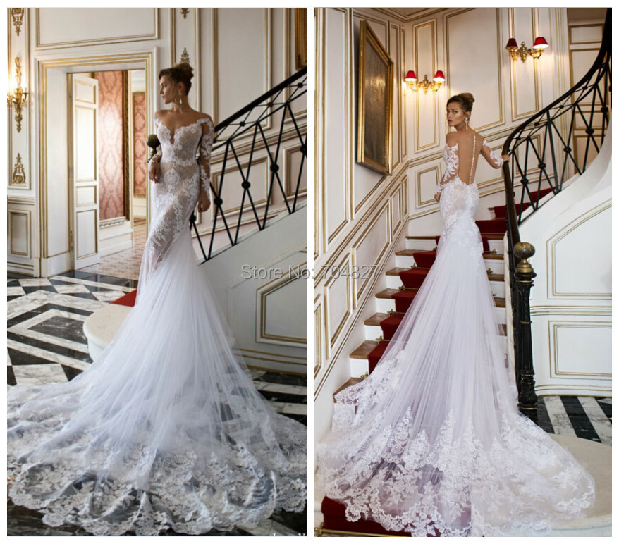 Timeless Wedding Gown: Timeless Lace Mermaid Wedding Dresses Sheer Tulle Chapel