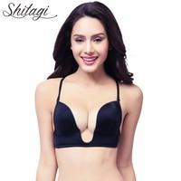 Shitagi Intimate Deep Plunge U Women Bra Sexy Seamless Adjustable Convertible Straps Sutian Push Up Bra