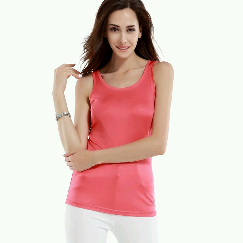 100 Pure Real Silk Women Tank Tops Long Basic Tank White Black Red Femininas Tank Top -5785