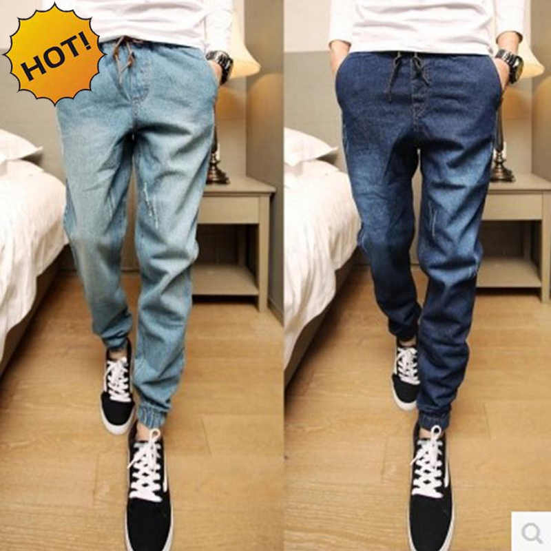 Fashion 2016 Teenagers Leg Foot Slim Fit Denim Jeans Men Drawstring Ankle Banded Pants Boys Hip Hop Harem Pants 28-34 Bottoms