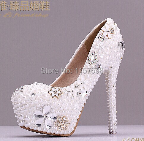 ФОТО 2015 Aesthetic pearl rhinestone wedding shoes ultra high heels bridal shoes platform shoes crystal thin heels white shoes