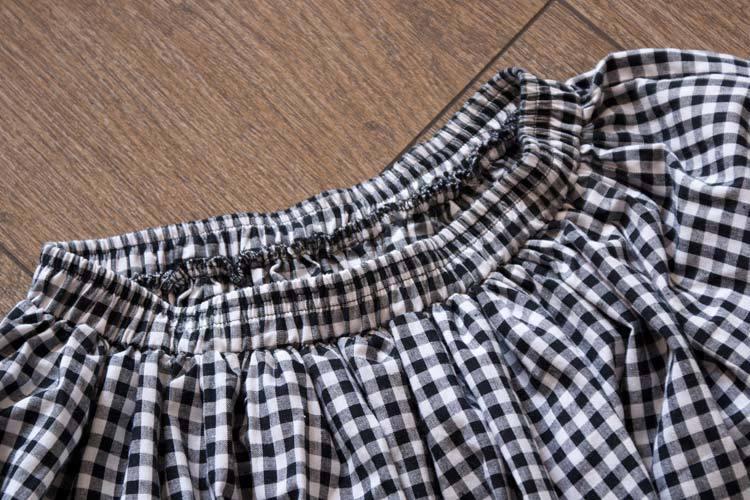 Для женщин сезон: весна–лето Ретро литература в черную и белую клетку, плиссированные юбки длиной до колен, повседневные штаны с эластичной резинкой на талии из хлопка