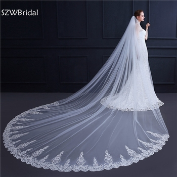 3 Meter White Ivory Cathedral Wedding Veil Long Lace Edge Bridal Veil with Comb Wedding Accessories Bride Veu Veu de noiva wholesale 3 meter tulle long cathedral wedding veil full lace trim appliqued 3m bridal veil for bride veu de noiva longo no comb
