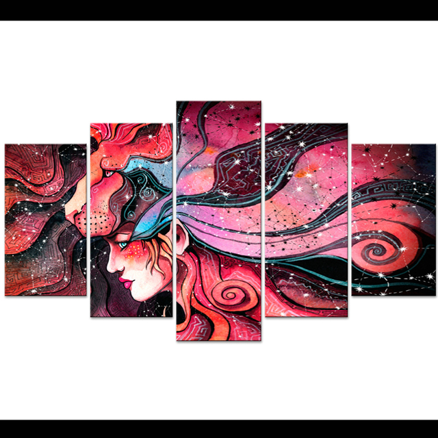 Modular Picture Wall Art Home Decoration 5 Panel Colorful Hot Girl ...