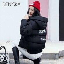 DENISKA Winter Jacket Women Cotton Short Jacket 2018 New Padded Slim Hooded Warm Parkas Coat Female Autumn Outerwear