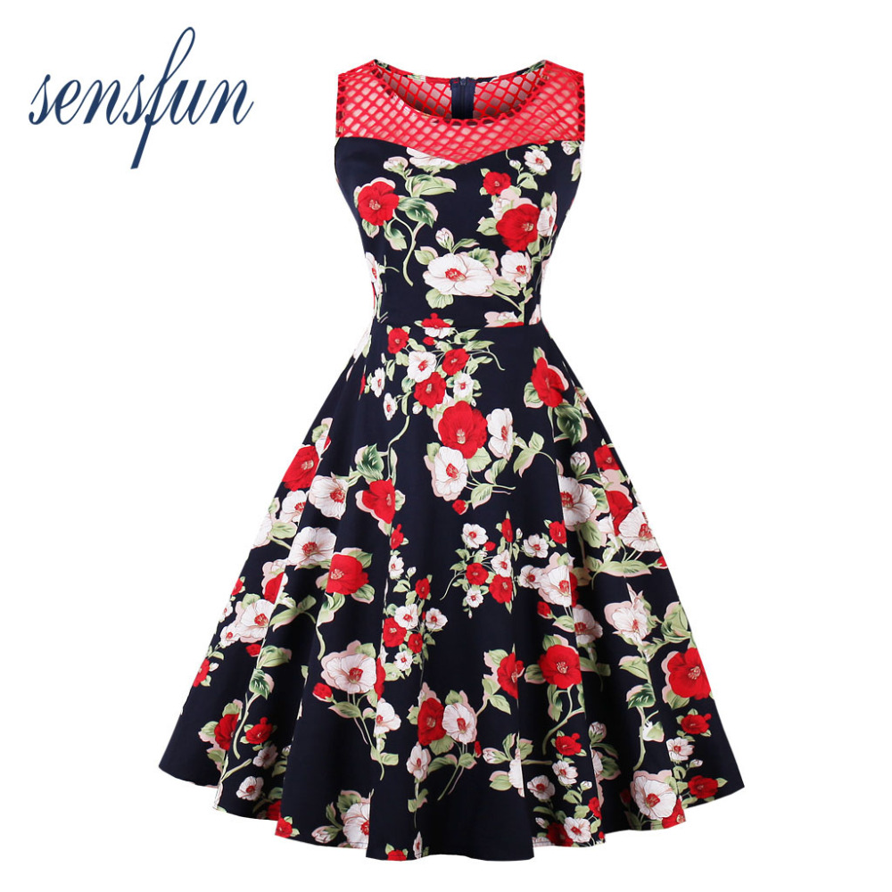 Sensfun Summer Dress Floral Women Hepburn Robe Vintage Dress High Waist Women Dresses Vestidos Retra Party Dresses Sundress