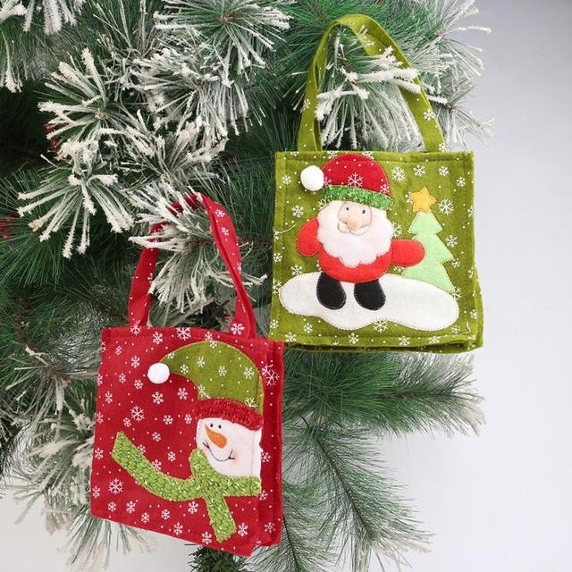 1pc christmas green santa red snowman decorative gift bag candy bags for candy stocking filler xmas