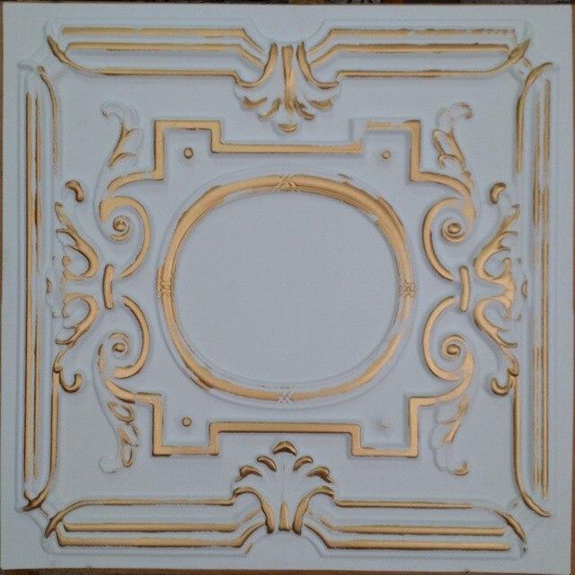 Pl15 Faux Tin Ceiling Tiles White Gold Color Restaurant Cafe Club Pub Decorative Wall 10tiles Lot