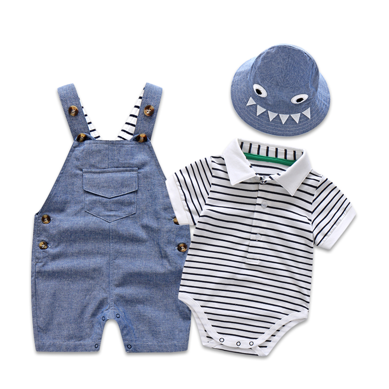 Newborn Baby Clothing Set for Boys Summer Suit Set Hat+Striped Romper+Blue Overall Suit Casual Children Boy Clothes Outfit купить недорого в Москве
