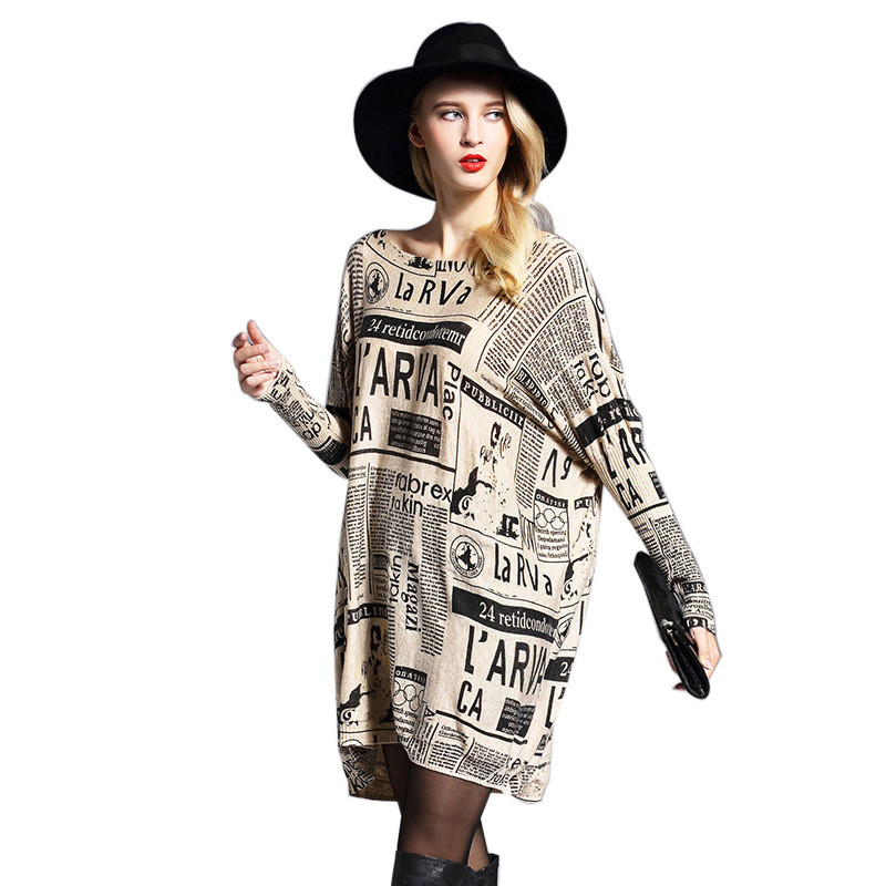 Women's Clothing Ladies O-neck Casual Knitted Sweaters Women Batwing Sleeve Newspaper Printing Big Yards Pullover Sweater