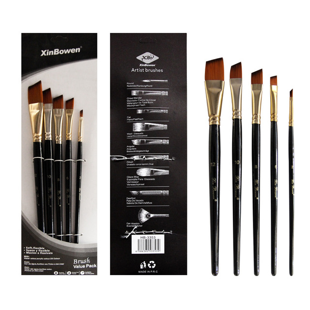 5pcs/set Nylon Hair Oil Paint Brush Set Round Filbert Angel Flat Brush Acrylic DIY Watercolor Pen for Artists Painters Beginners 4