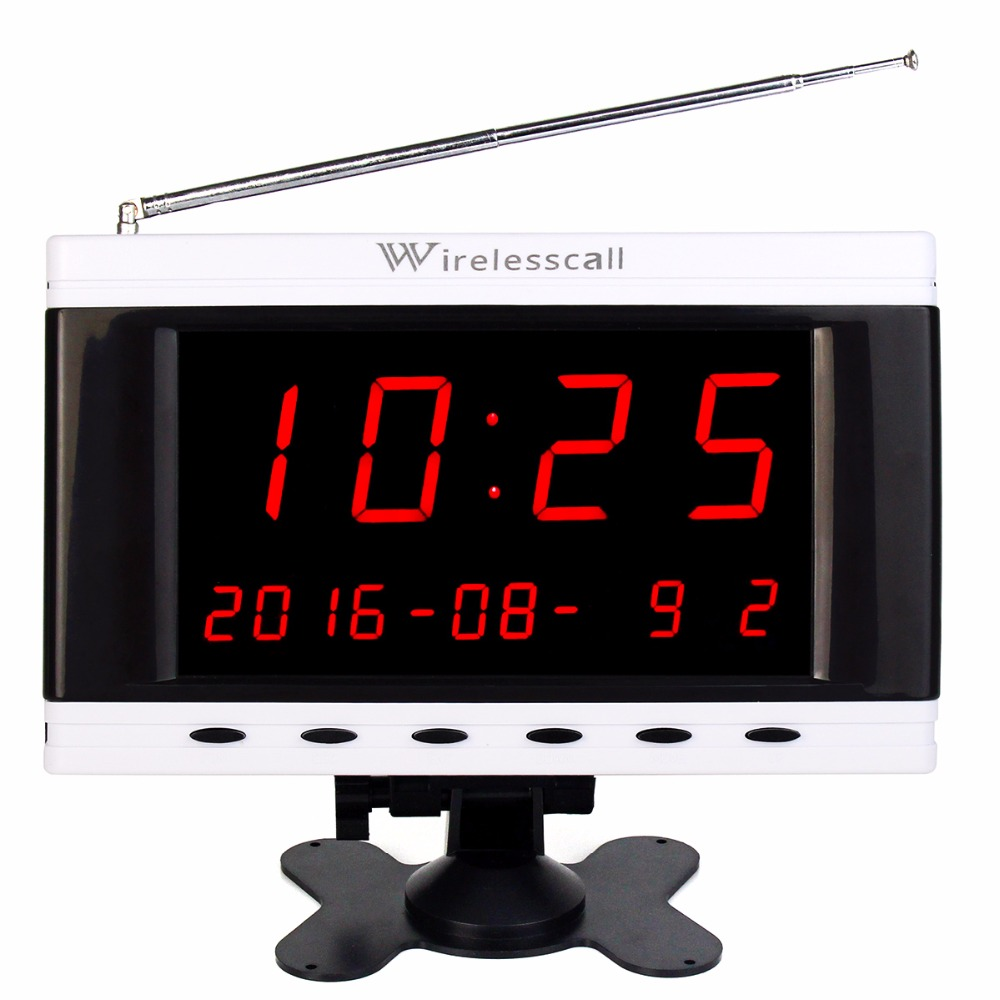 Wireless Waiter Service TIVDIO Queuing Call System 433MHz Receiver Host Voice Broadcast Calendar Display For Coffee Hotel F3261B wireless service call bell system popular in restaurant ce passed 433 92mhz full equipment watch pager 1 watch 7 call button