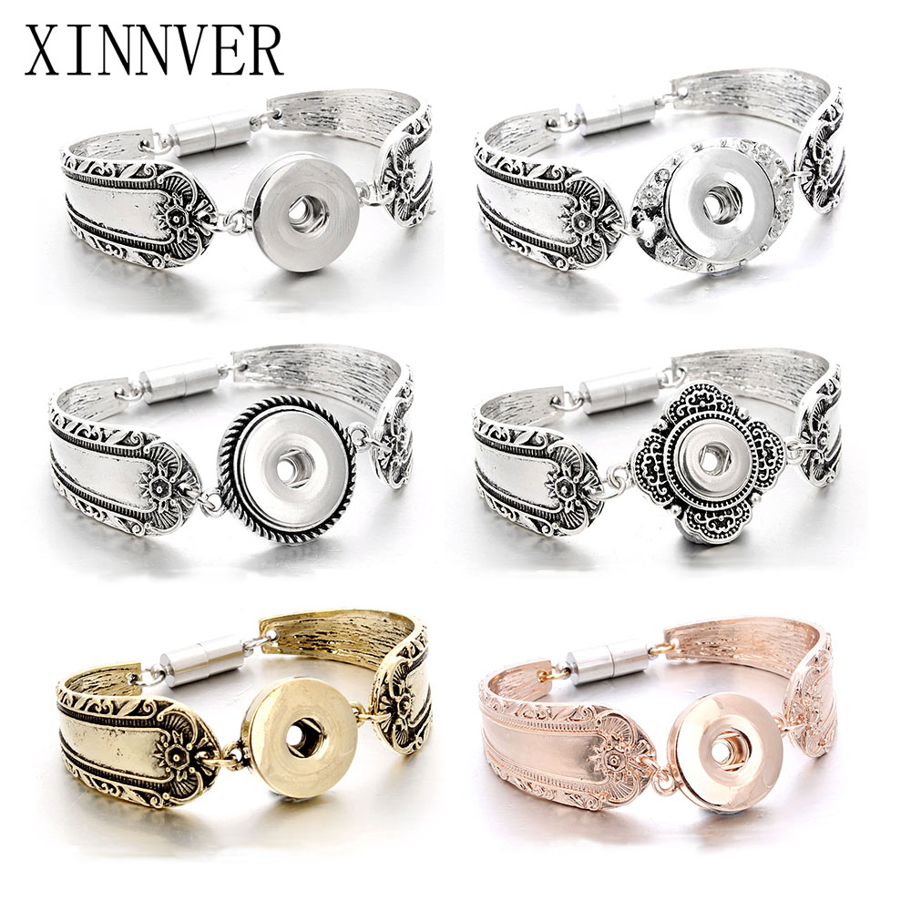 wholesale snap jewelry silver 18mm snap buttons bracelet