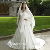 E MARRY Romantic Sexy V Neck Long Sleeves Lace Bride Dress Princess Wedding Dress Fashionable White Sexy Princess Party Gown