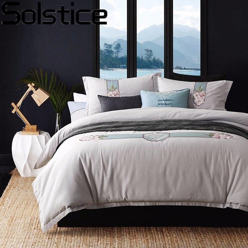 Solstice домашний текстиль супер роскошные классические вышивка стиль 100% хлопок 4 шт. постельные принадлежности набор постельное белье постель