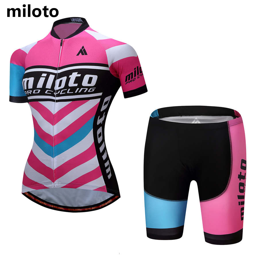 Ropa Ciclismo Short Sleeve Womens Cycling Clothing Pink and White Miloto Bike Sportswear Reflect MTB Jersey Shorts Padded 5XL