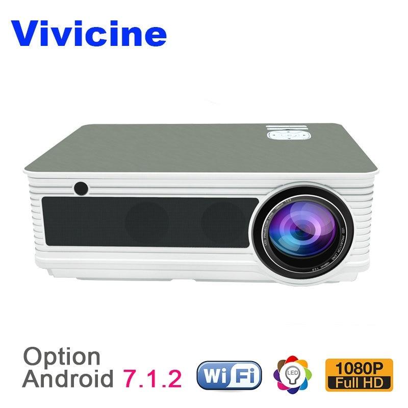 VIVICINE HD Casa Projetor, 5500 Lumens, Android 7.1 WiFi Bluetooth Opcional, suporte 1080 p Home Theater Projetor De Vídeo LEVOU Beamer