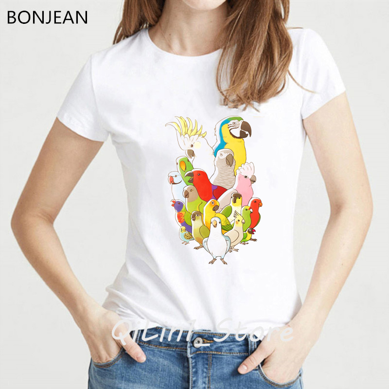 Animal bird Cockatiel family Print Women T shirt Summer cute Funny T shirt femme harajuku Kawaii tshirt female tumble tops tees in T Shirts from Women 39 s Clothing