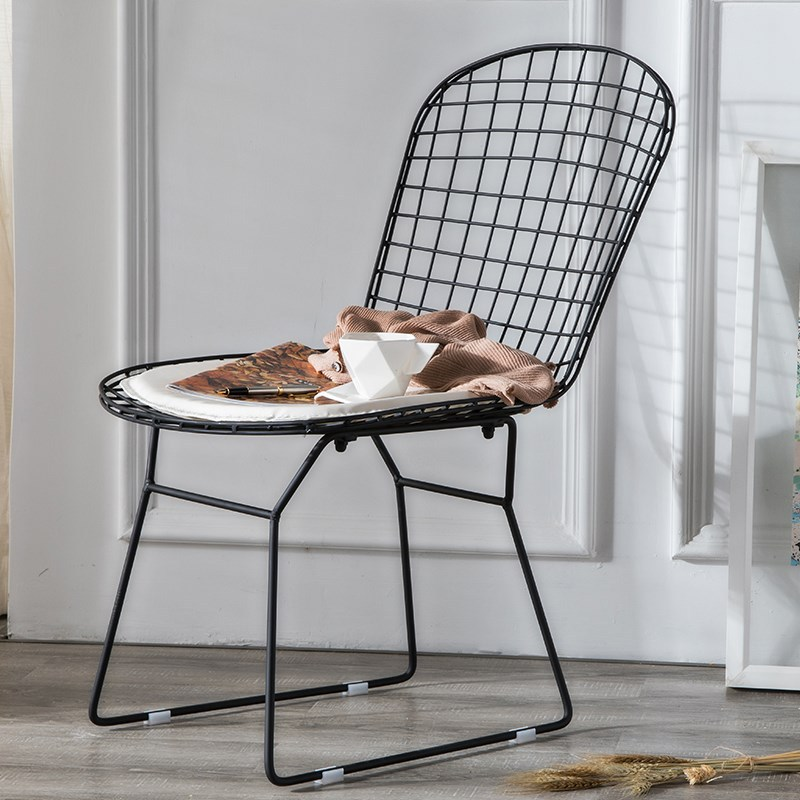 Nordic INS Iron Simple Casual Chair Home Furniture Bedroom Office Meeting Computer Chair Cafe Restaurant Suitable For Wire Chair