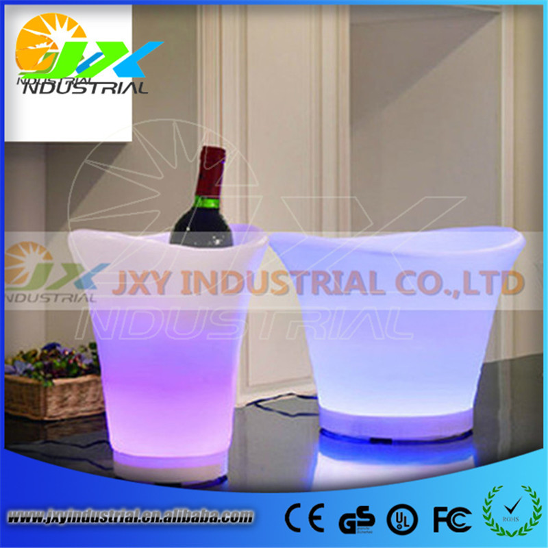 5L Volume plastic roundness led bucket color changing,5L bars nightclubs colorful LED light up ice bucket Champagne beer bucket free shipping color changeable large quadrange seau a champagne bucket led multicolor led ice bucket remote controller adapter