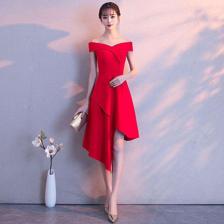 Irrégulière mince robe formelle épaule dénudée robes élégantes femme fête nuit Vestidos Mujer Sexy robe Midi 60j028