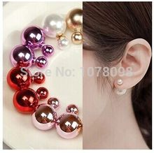 Hot selling wholesale! Fashion sales in 2019 on both sides cute color glossy large simulated pearl (16mm) earrings for women(China)