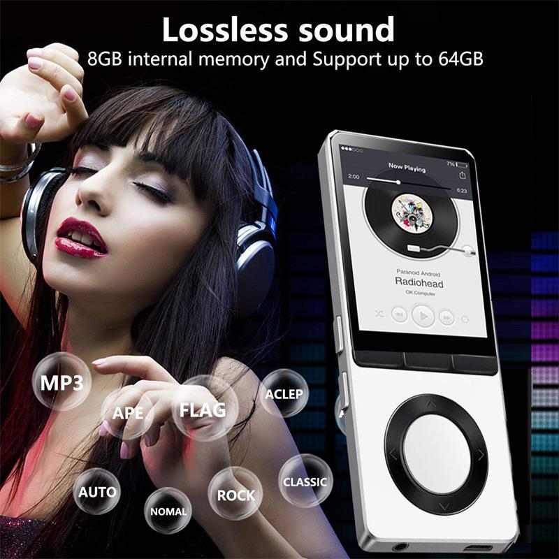 Mp4 player com corpo de metal alto falante tela de 1.8 polegadas 8 gb suporte gravação