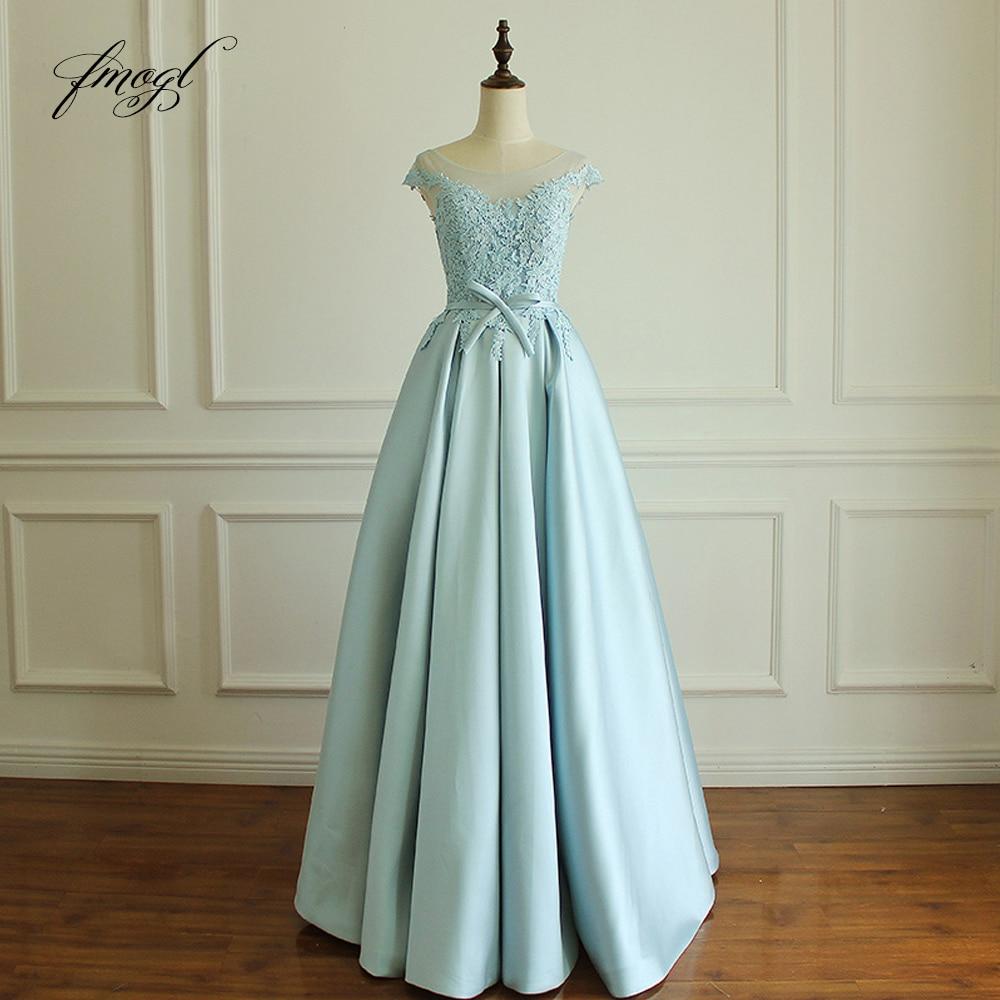 Fmogl Luxury Cap Sleeve Long Evening Dresses 2019 Scoop Neck Appliques Formal Dress For Party Vestido De Festa Plus Size