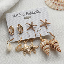 2019 New Sea Shell Earrings For Women Gold Color Trendy Metal Shell Cowrie Statement Dangle Earrings Summer Beach Jewelry Earrin(China)