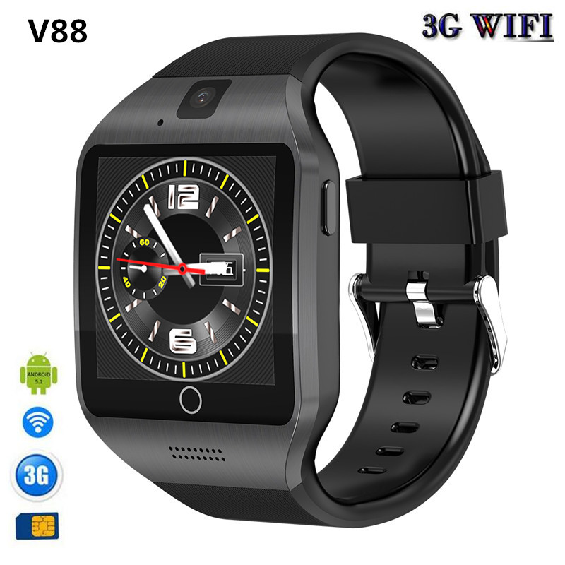 V88 Android OS Smart Watch Phone Q18S With 500W camera Video Support WiFi 3G Sim Card Play Store Download APP Whatsapp Facebook image