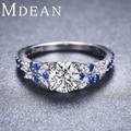 MDEAN Sapphire Jewelry 2.6Gram 925 Sterling Silver Genuine CZ Diamond Rings for Women Size 6 7 8