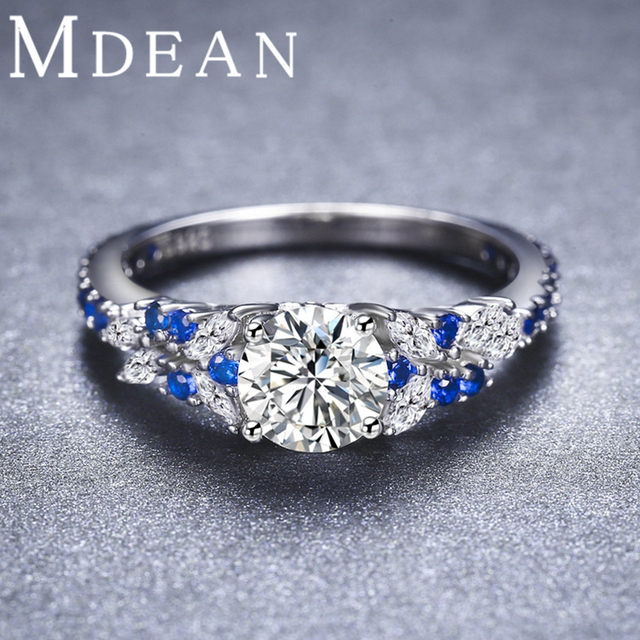 MDEAN Sapphire Jewelry 2.6Gram 925 Sterling Silver Genuine CZ Diamond Rings for Women Size 6 7 8