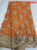 1,3 м * 4,5 м в шт оранжевый с золотистой вышивкой тюль кружевной ткани decoratied с бисером и камнями Mar 23