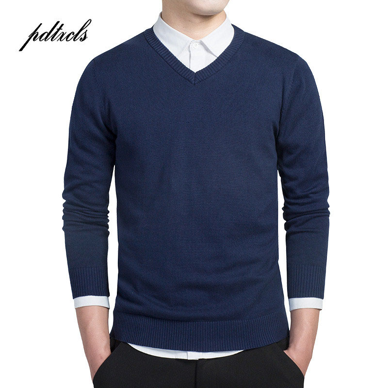 New Simple Smart Casual Pullover High Quality Pure Cotton Long Sleeve Sim Fit Mens Sweater Fashion Plus Size Men Sweaters 2018(China)