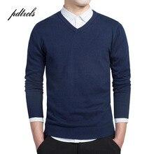 Простой Умный Повседневный пуловер высокого качества из чистого хлопка с длинным рукавом Sim Fit Мужской свитер размера плюс мужские свитера
