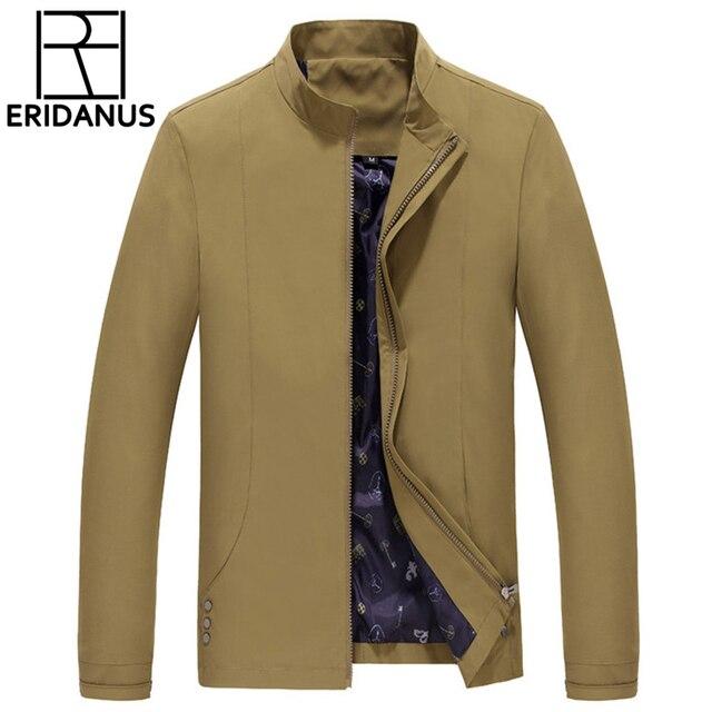 2016 Новый Мужчины Мода Повседневная Спортивная Куртка Простой Дизайн Бизнес Британский Стиль Мужская Куртка Молнии Хаки Прилив диких Пальто M371