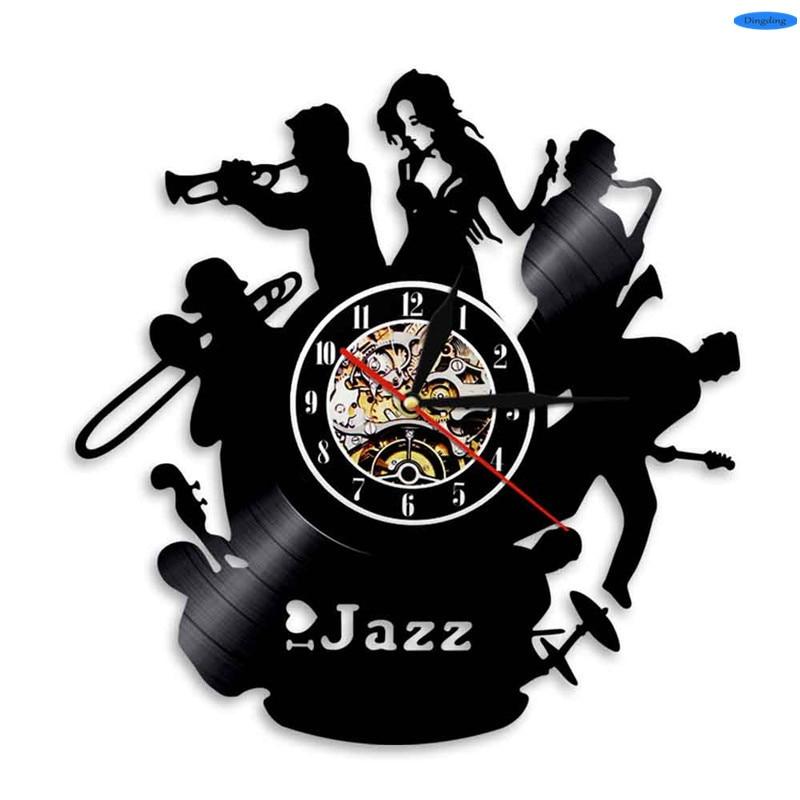 12 Inch Black Vinyl Design 3D Wall Clock Jazz Music Decoration Modern Home Decor