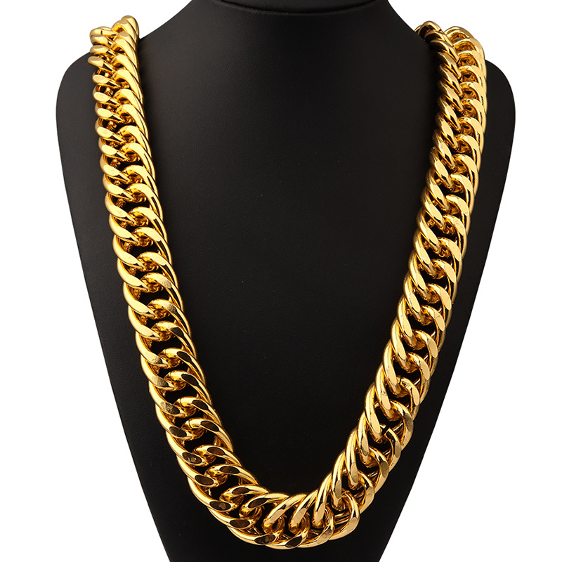 filled curb necklace chain cuban mens hugerect chains yellow gold solid product